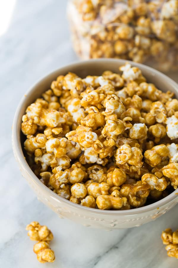 The Best Homemade Caramel Corn! Crispy caramel corn with the perfect mix of sweet and salty. A naturally gluten-free Halloween treat!