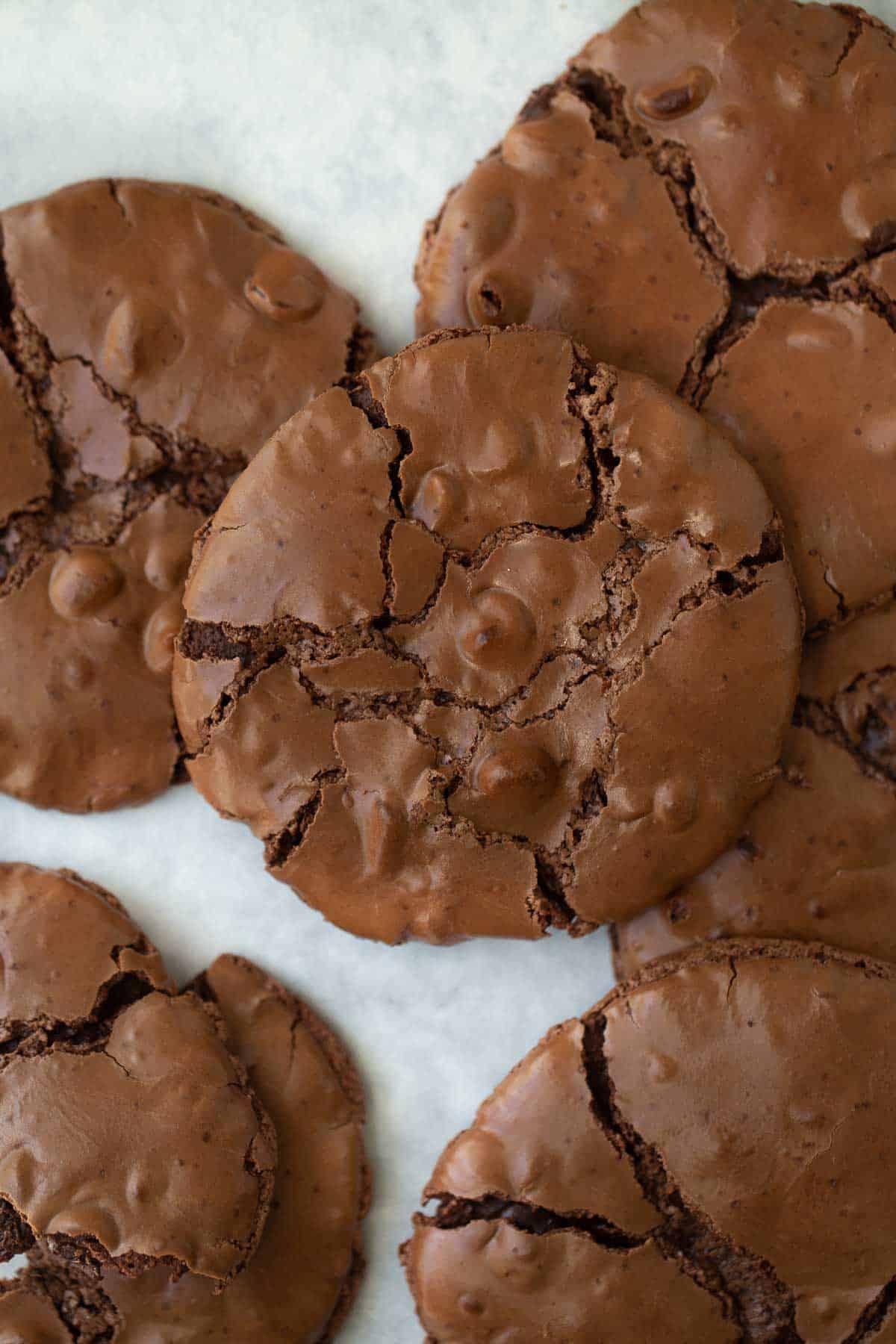 close up shot of flourless chocolate cookies