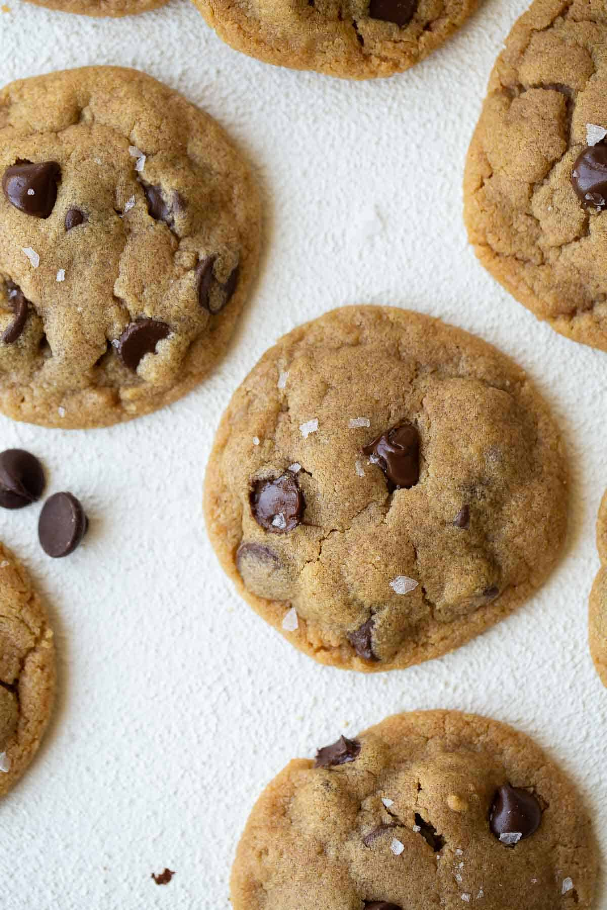 close up shot of flourless peanut butter chocolate chip cookies