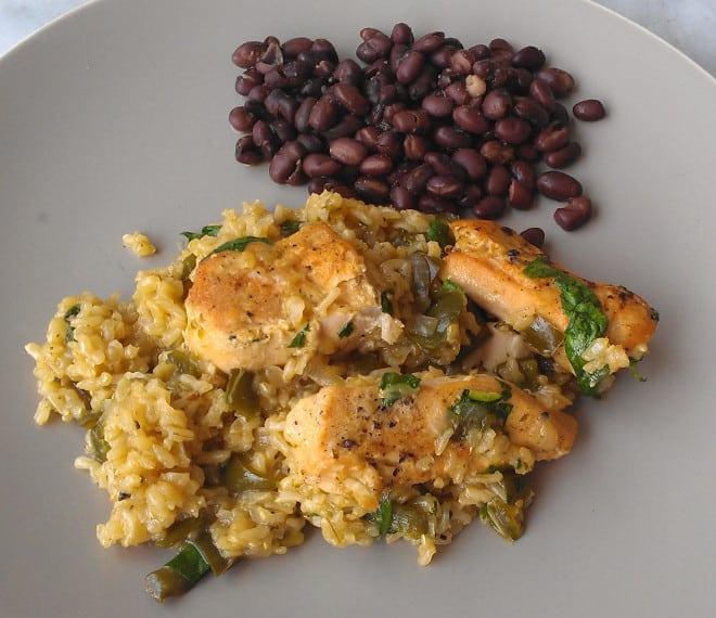 Skillet Chicken with Mexican Green Rice! An easy, flavorful weeknight dinner. (Gluten-Free)