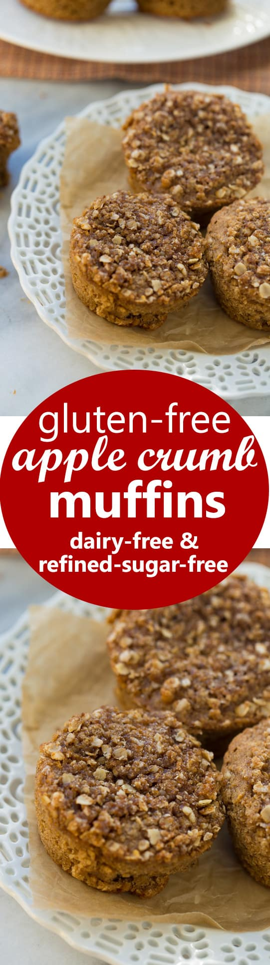 Gluten-Free Apple Muffins! These muffins have the best flavor and texture. They're also made with a healthy flour blend and are dairy/refined-sugar free!