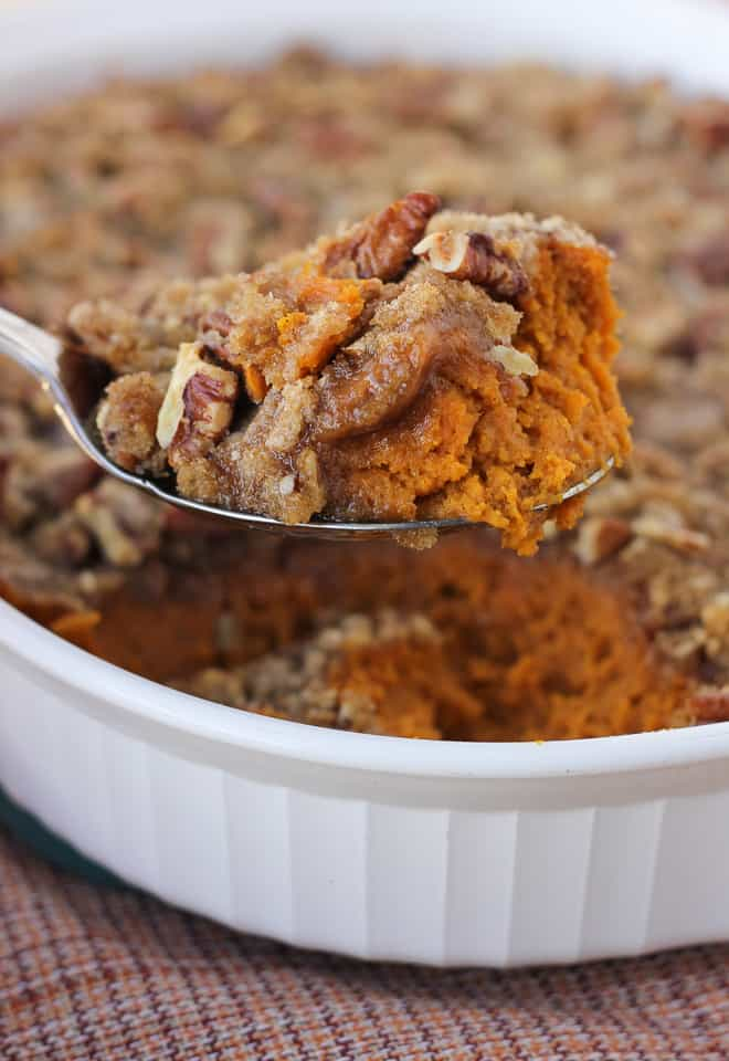 Sweet Potato Casserole with Pecan Praline Topping! The favorite Thanksgiving side dish every year. A gluten-free, dairy-free holiday side everyone will love!