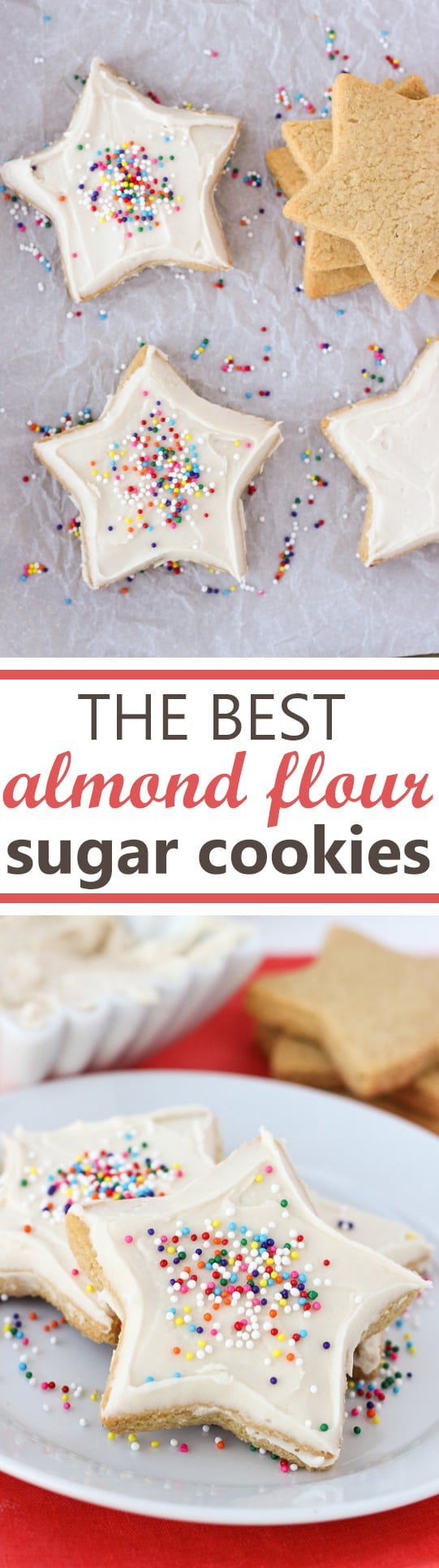 The Best Almond Flour Sugar Cookies! Soft in the middle and crispy on the edges. Easy to roll out and perfect for cut-outs!
