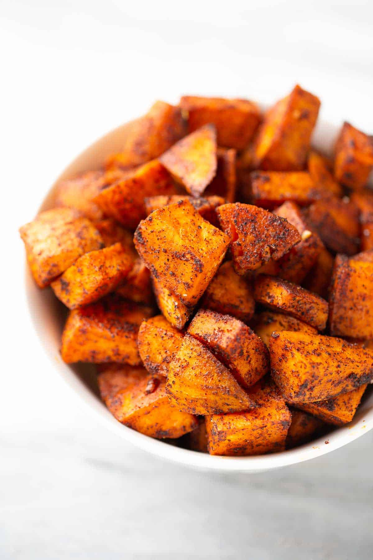 bowl of simple sweet potato cubes