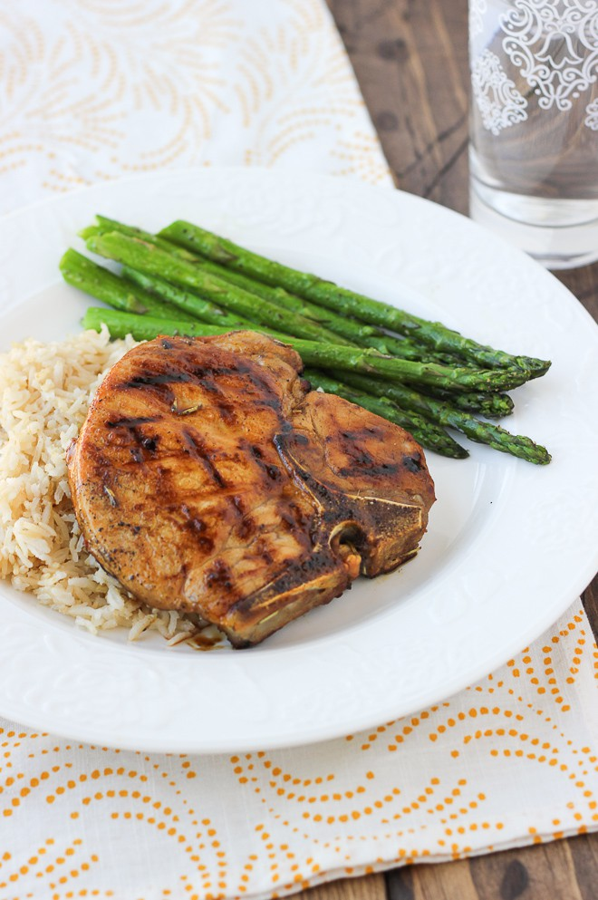 Brined Balsamic Honey-Glazed Pork Chops! Brining is the secret to making these glazed pork chops moist and flavorful!