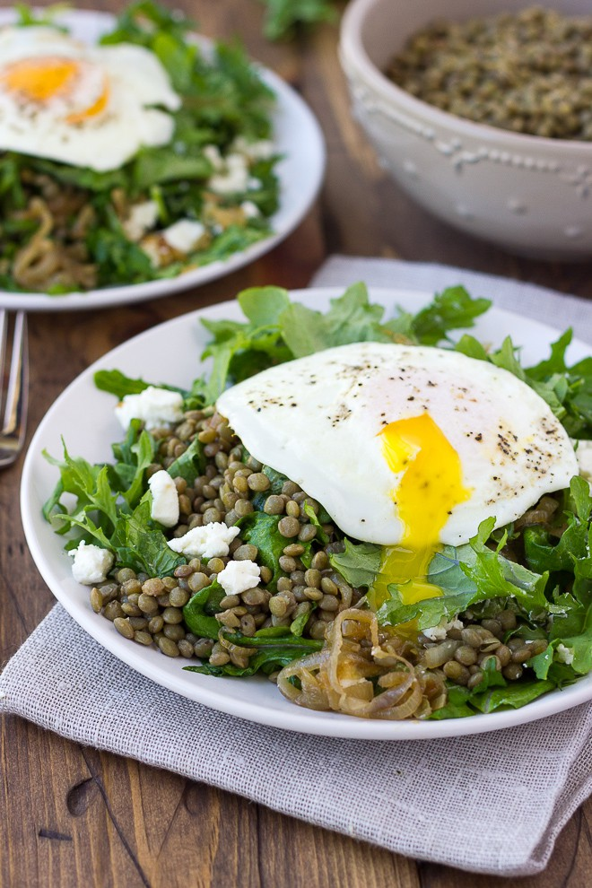 French Lentil Salad with Goat Cheese and Caramelized Shallots! {Gluten-Free}