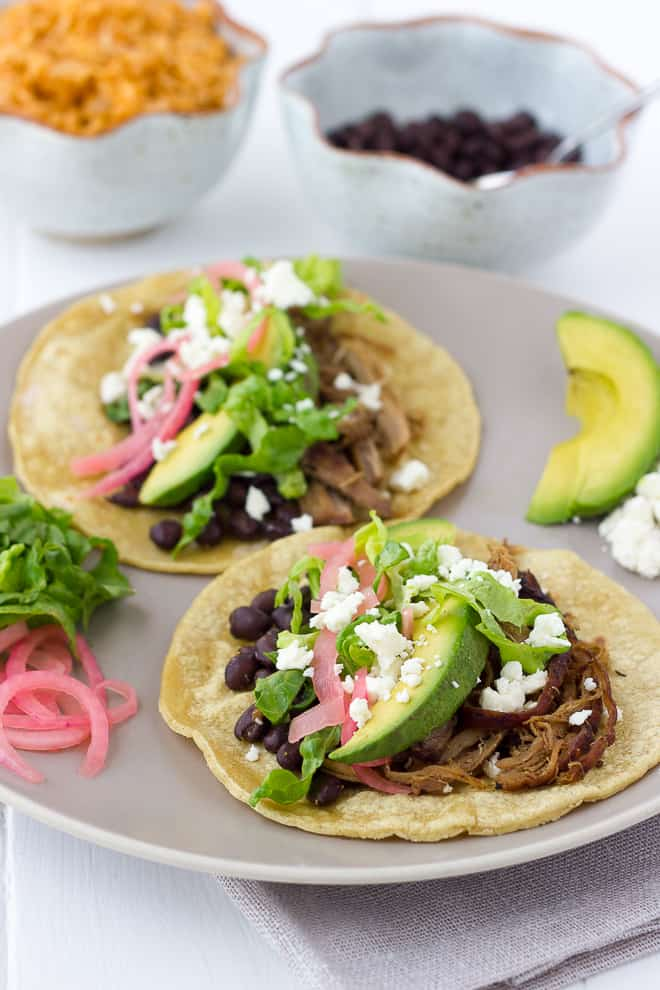 Slow-Cooker Sweet Pork Tacos with Black Beans {Gluten-Free}