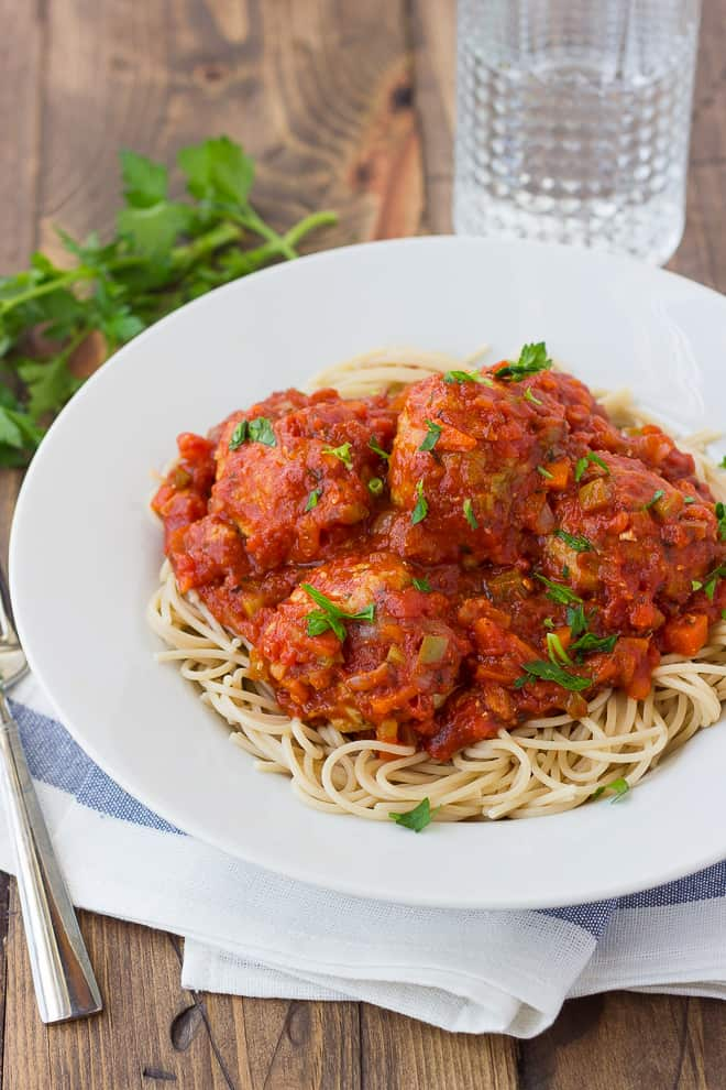 Spaghetti and Turkey Meatballs! With a quick, flavorful sauce full of veggies. Gluten-Free!