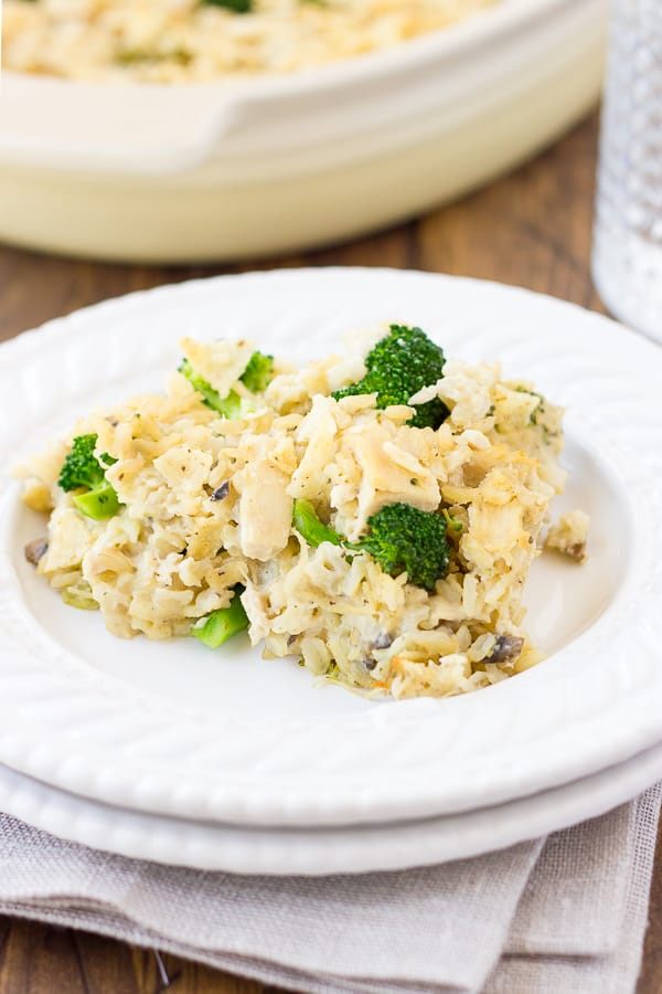 Dairy-Free Chicken Broccoli & Rice Casserole! Creamy, comforting, and savory like you remember, but made with real ingredients! {Gluten-Free}