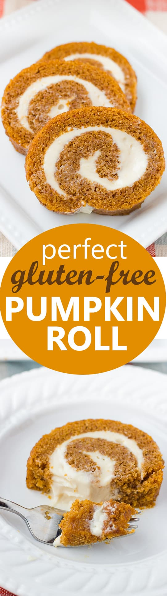Perfect Gluten-Free Pumpkin Roll! Moist spiced cake with a cream cheese filling. Easily made dairy-free!