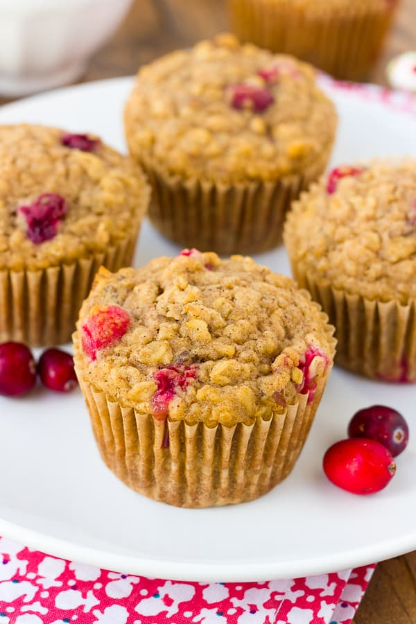 Healthy, Gluten-Free Oatmeal Cranberry Muffins! The perfect not-too-sweet December snack.