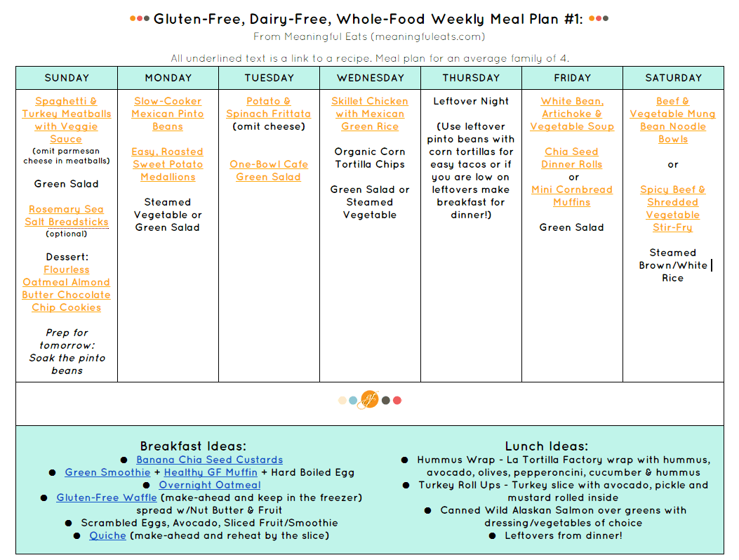 Gluten Free Family Friendly Healthy Meal Plans