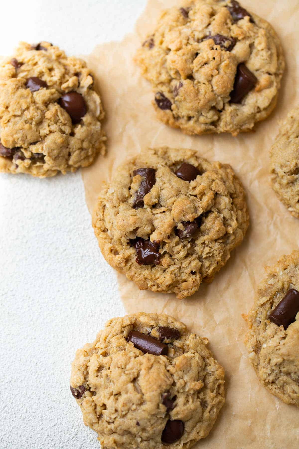 close up shot of gluten-free oatmeal chocolate chip cookie