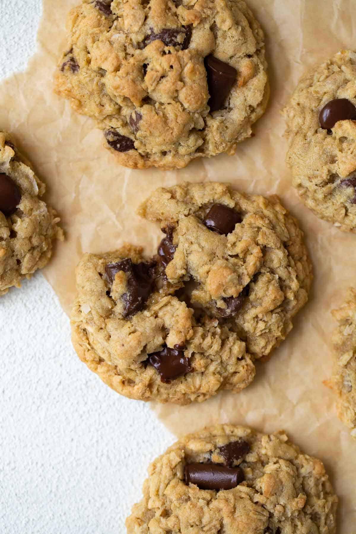 close up shot of cookie broken in half