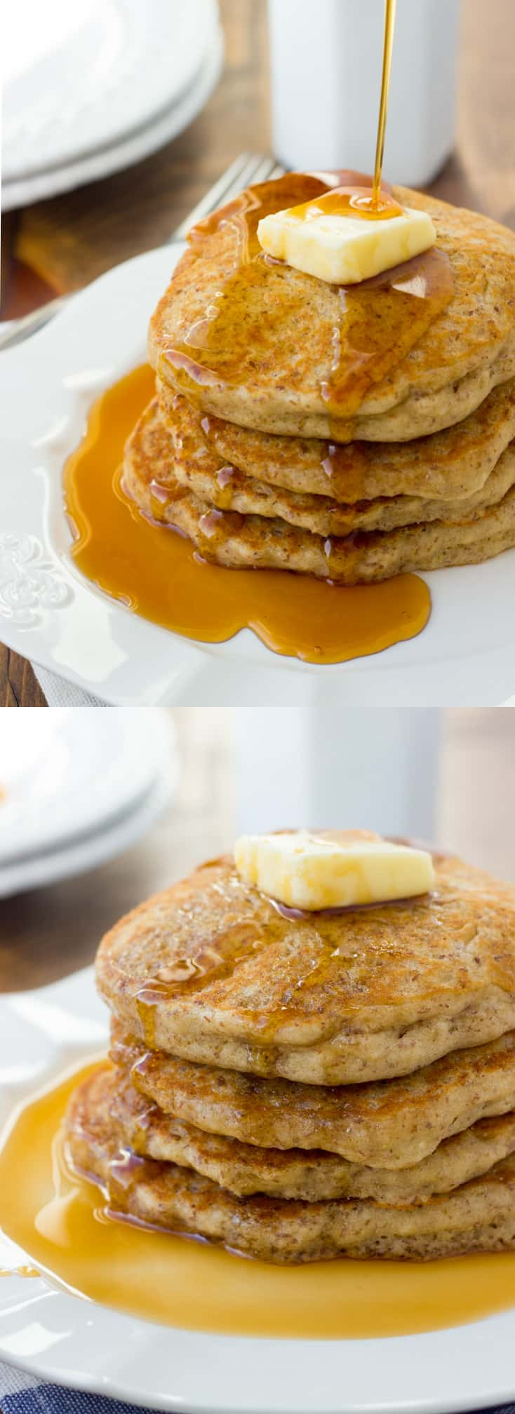 Gluten-Free Buckwheat Flax Pancakes! Fluffy, flavorful pancakes made from a wholesome gluten-free flour blend. Our favorite pancakes!