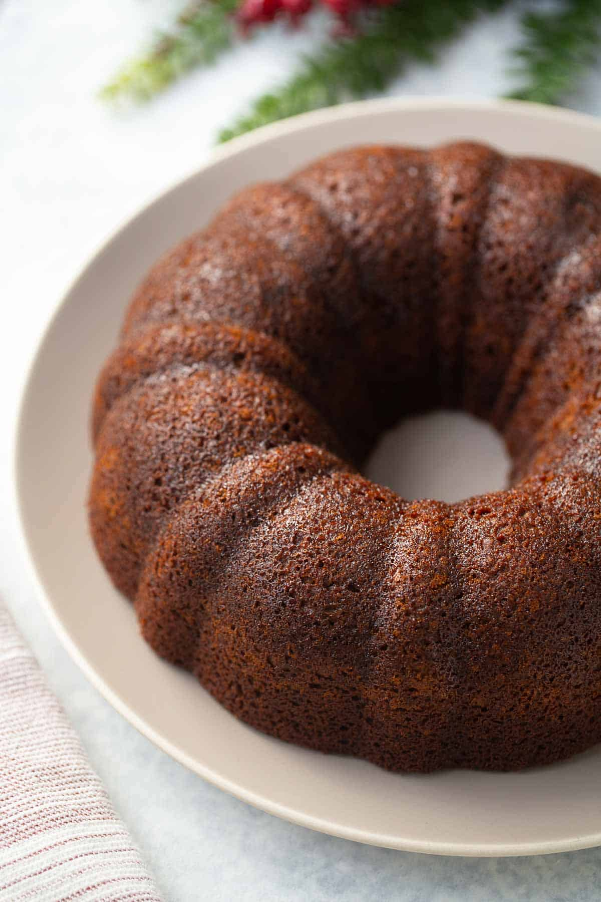 shot of gluten free gingerbread cake on plate