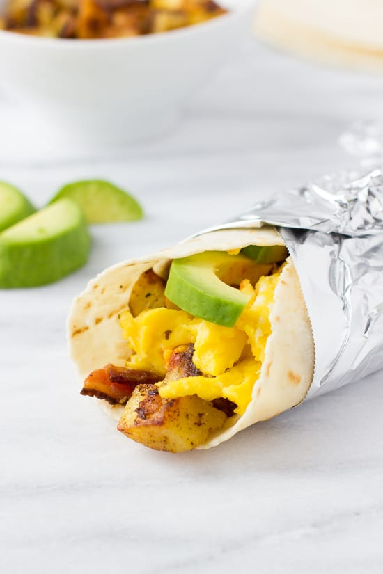 Gluten-Free Potato, Bacon & Egg Breakfast Burritos!