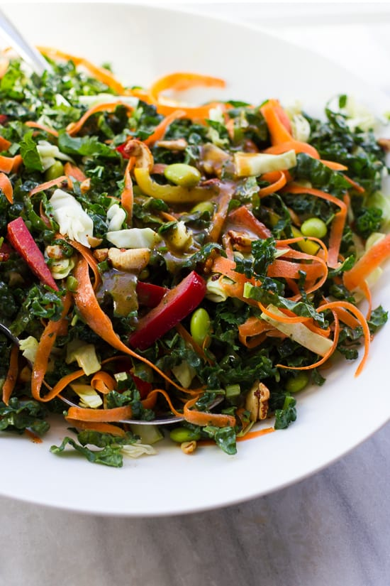Chopped Thai Kale Salad with Spiced Cashews and a Bold, Almond Butter Dressing! The perfect make-ahead salad for lunches, trips or potlucks. {Gluten-Free, Vegan}