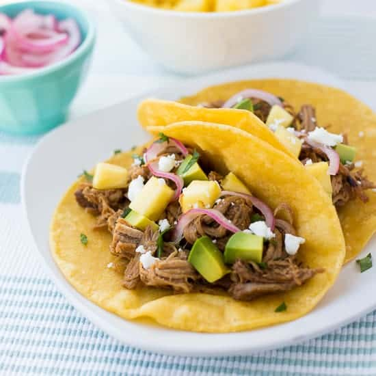 Slow-Cooker Pineapple Chipotle Pork Tacos - Meaningful Eats