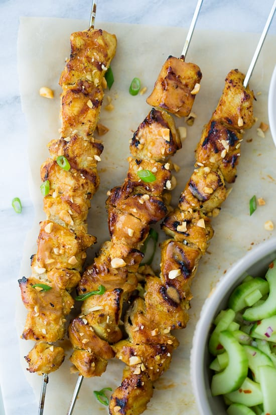 Thai Chicken Skewers with Peanut Sauce! Flavorful, easy and perfect for summer grilling! (Gluten-Free)