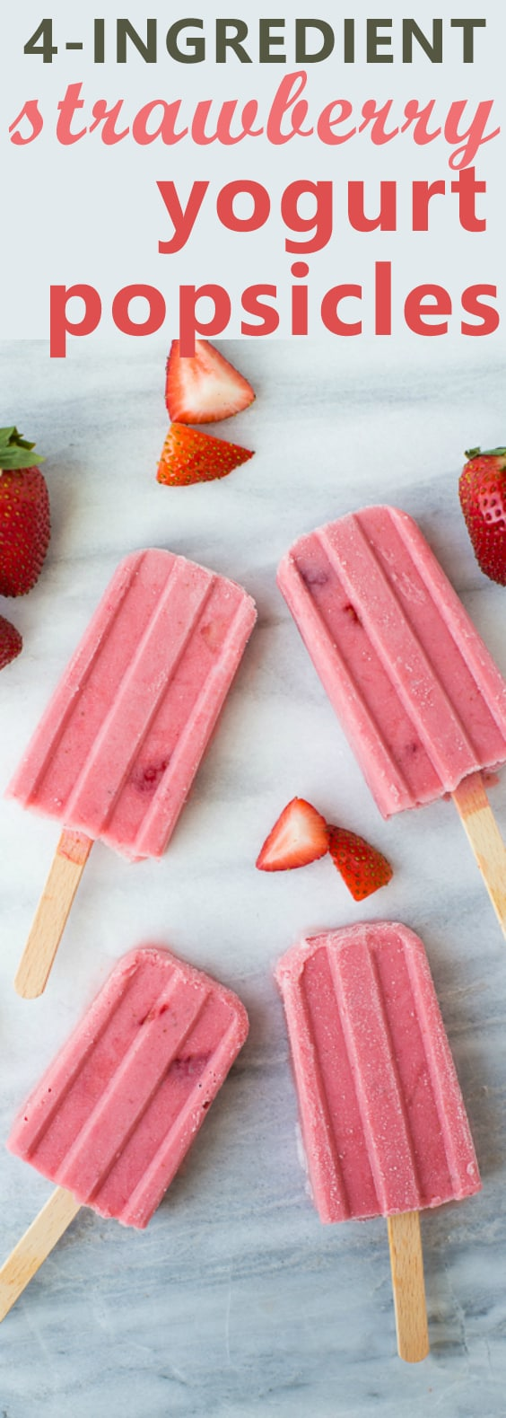 4-Ingredient Healthy Strawberry Yogurt Popsicles! A creamy treat that couldn't be easier to make! Sweetened with honey and easily made dairy-free.