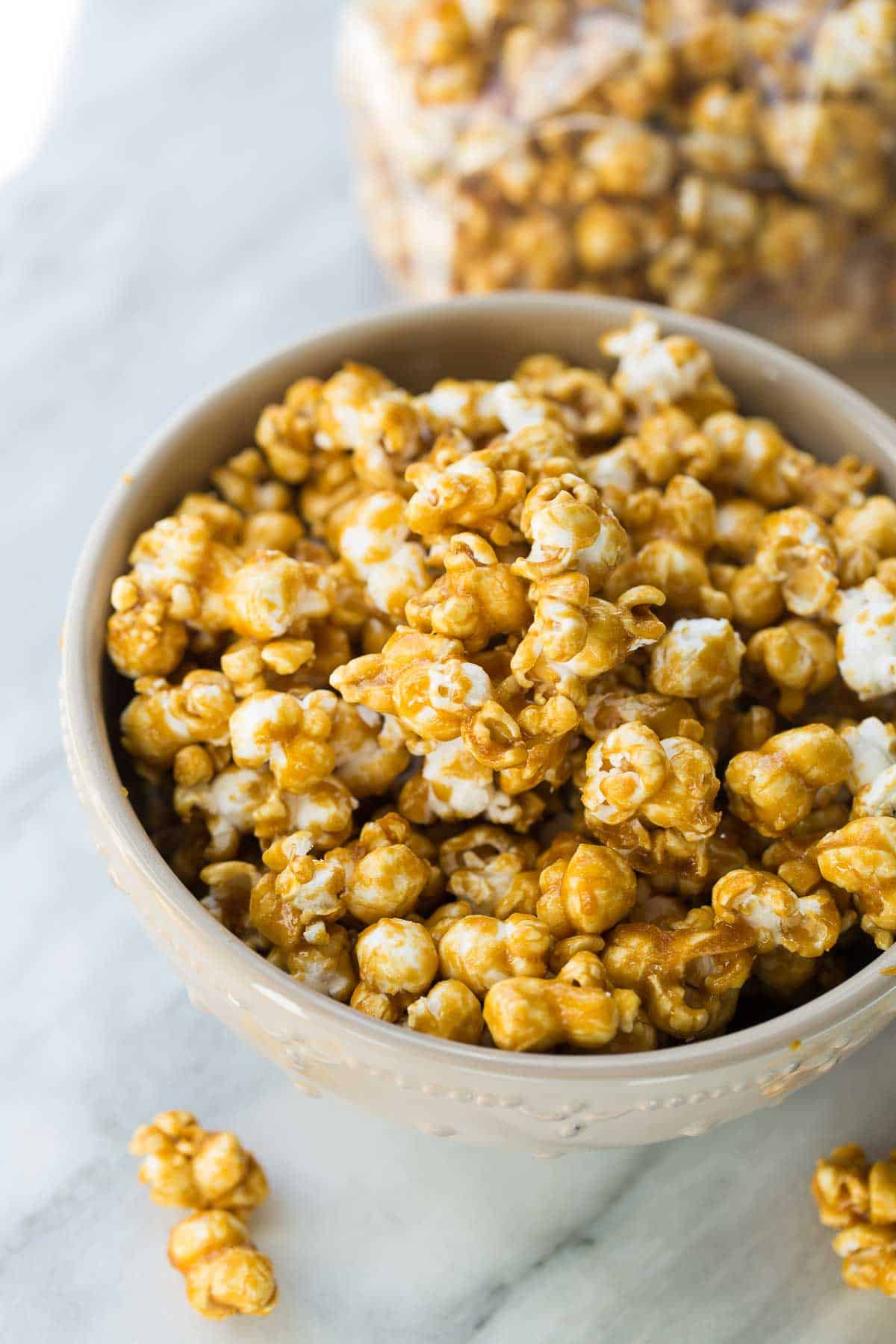 caramel corn in gray bowl for snacking