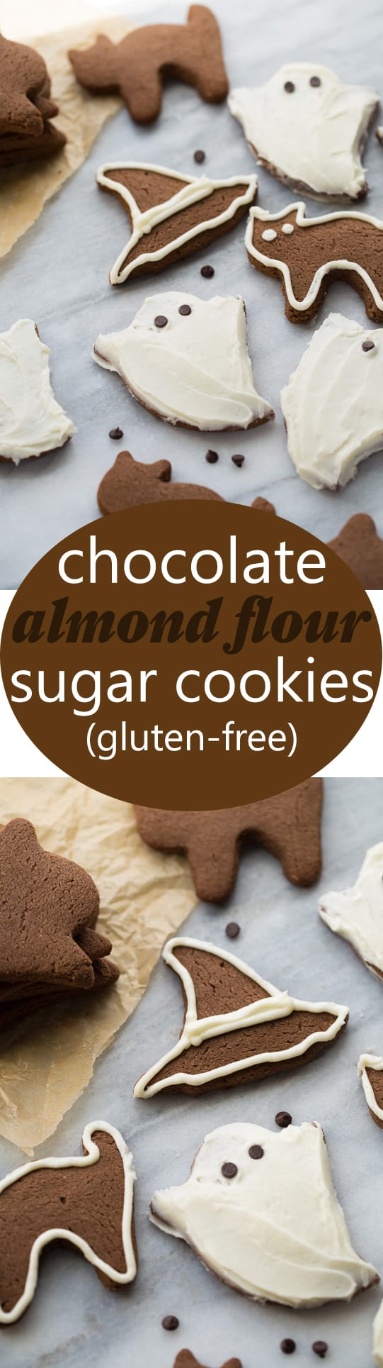 Chocolate Almond Flour Sugar Cookies! Soft in the middle, crisp on the edges. Easy to make and so fun to decorate!