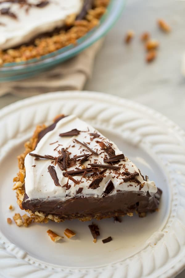 Gluten Free Vegan Chocolate Pudding Pretzel Pie