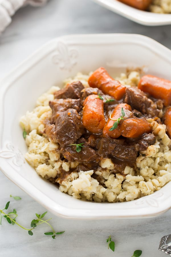 Instant Pot Beef Burgundy! A comforting beef stew cooked until it's fall-apart tender in a flavorful red wine sauce.