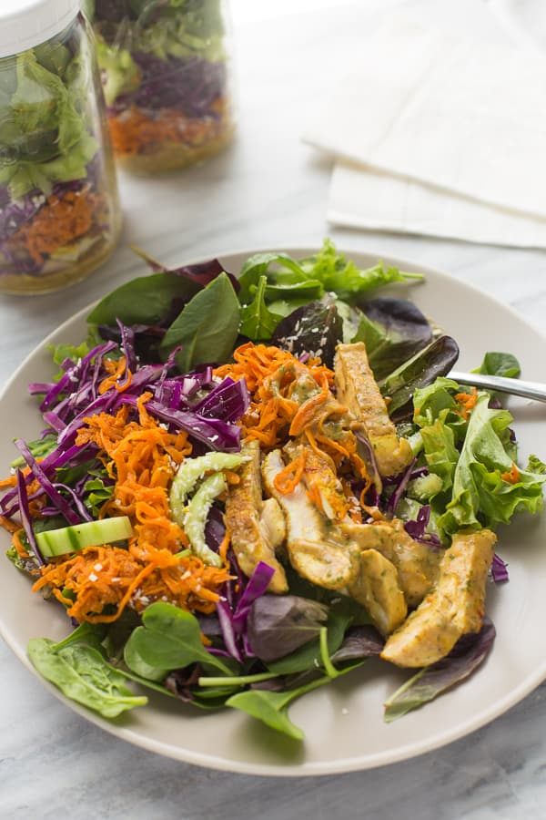 Thai Chicken & Sweet Potato Mason Jar Salads! Easy, delicious and prep for meal prep for the week.