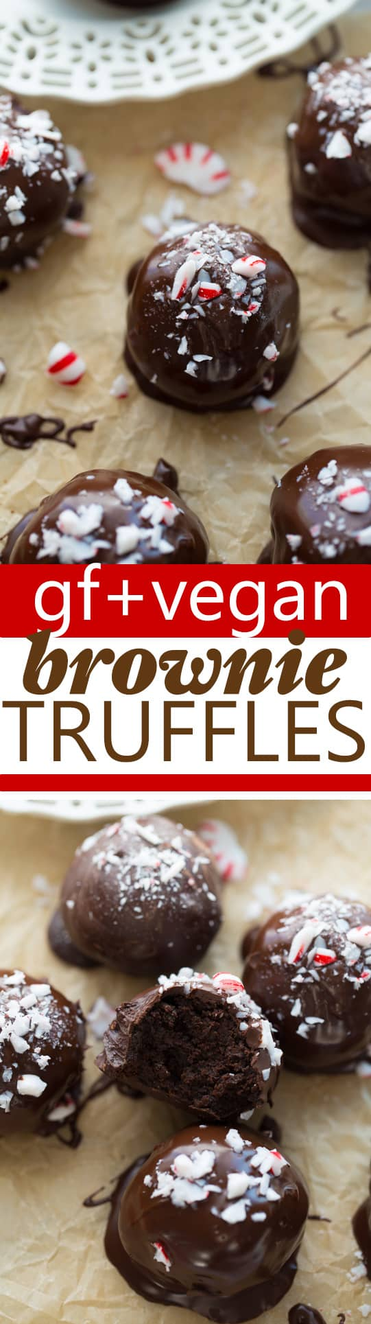 Gluten-Free, Vegan Peppermint Brownie Truffles! A rich, gooey brownie center coated in chocolate and peppermint. Dairy-Free, Nut-Free, Egg-Free and so easy to make!