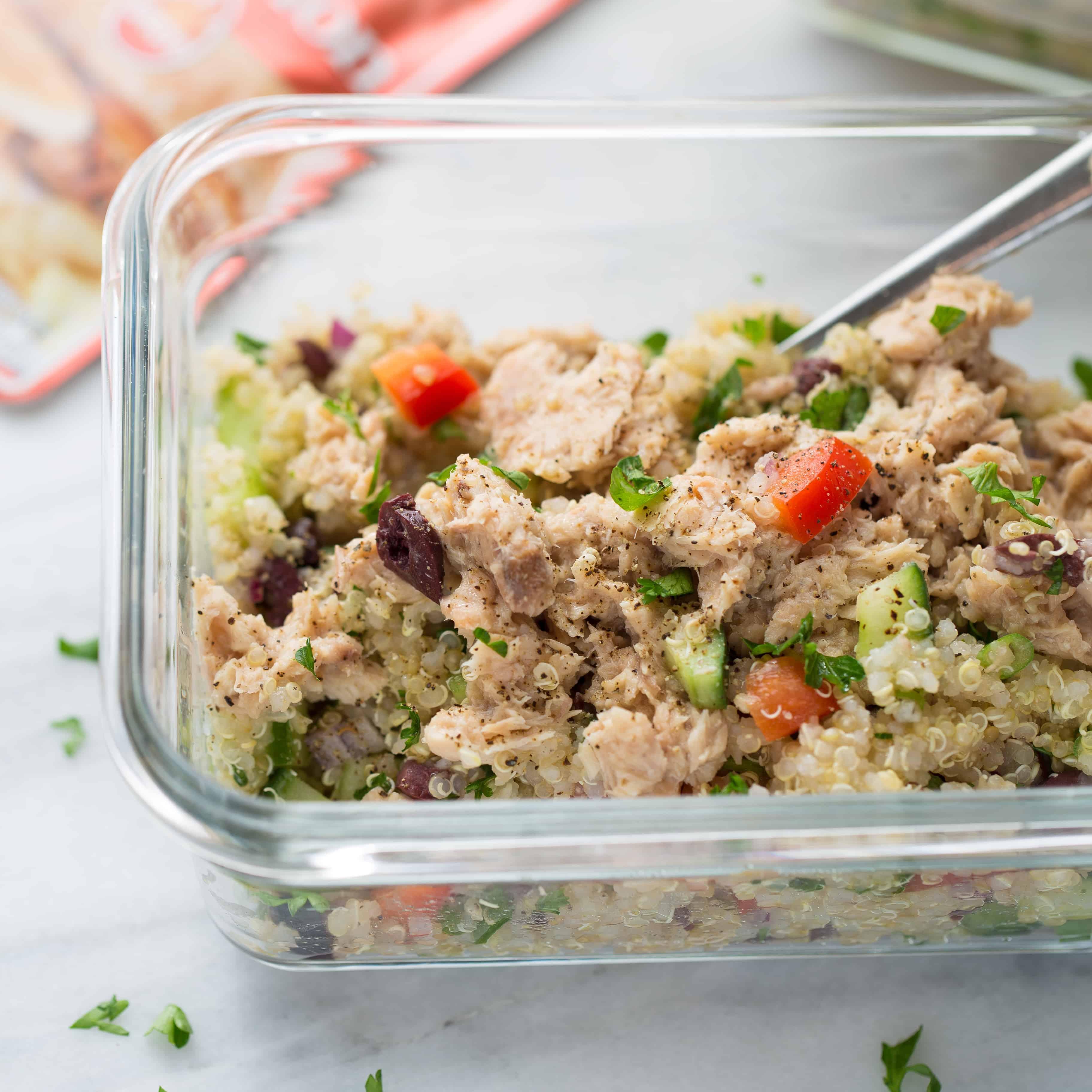Make-Ahead Quinoa Salad with Lemon Pepper Salmon