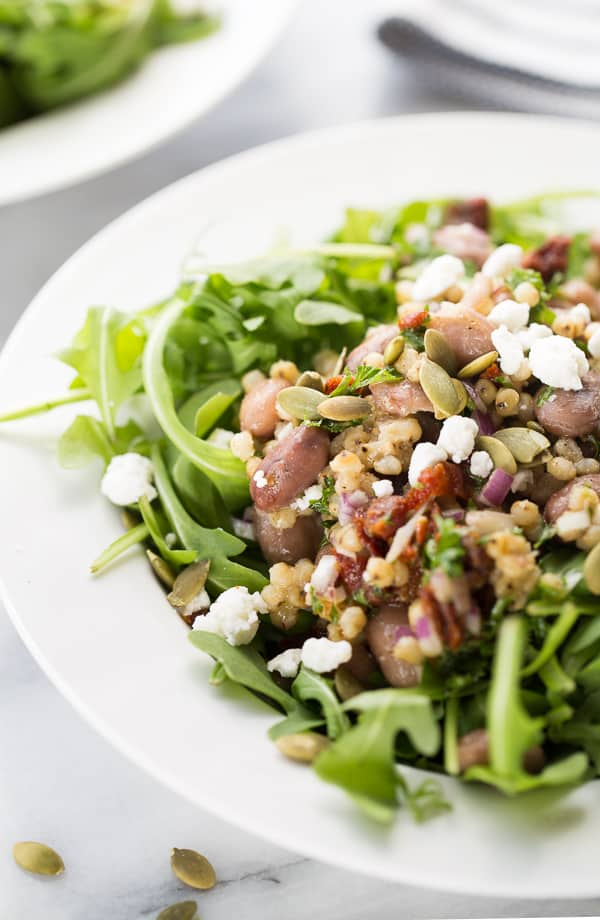 Cranberry Bean, Sorghum & Sun-Dried Tomato Salad! A flavorful, gluten-free make-ahead salad. Perfect for lunch prep!