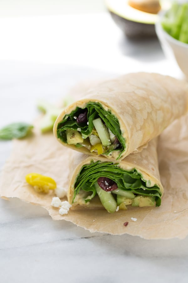 10-Minute Hummus Lunch Wraps! An easy, healthy lunch for busy days. Fill them with any veggies you like!