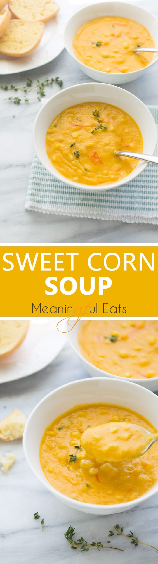 Sweet Corn Soup! An easy, healthy soup made with fresh ingredients. (Gluten-Free, Dairy-Free)