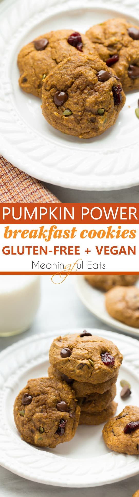 Pumpkin Power Breakfast Cookies! Healthy, gluten-free and vegan cookies. Delicious and kid-friendly!