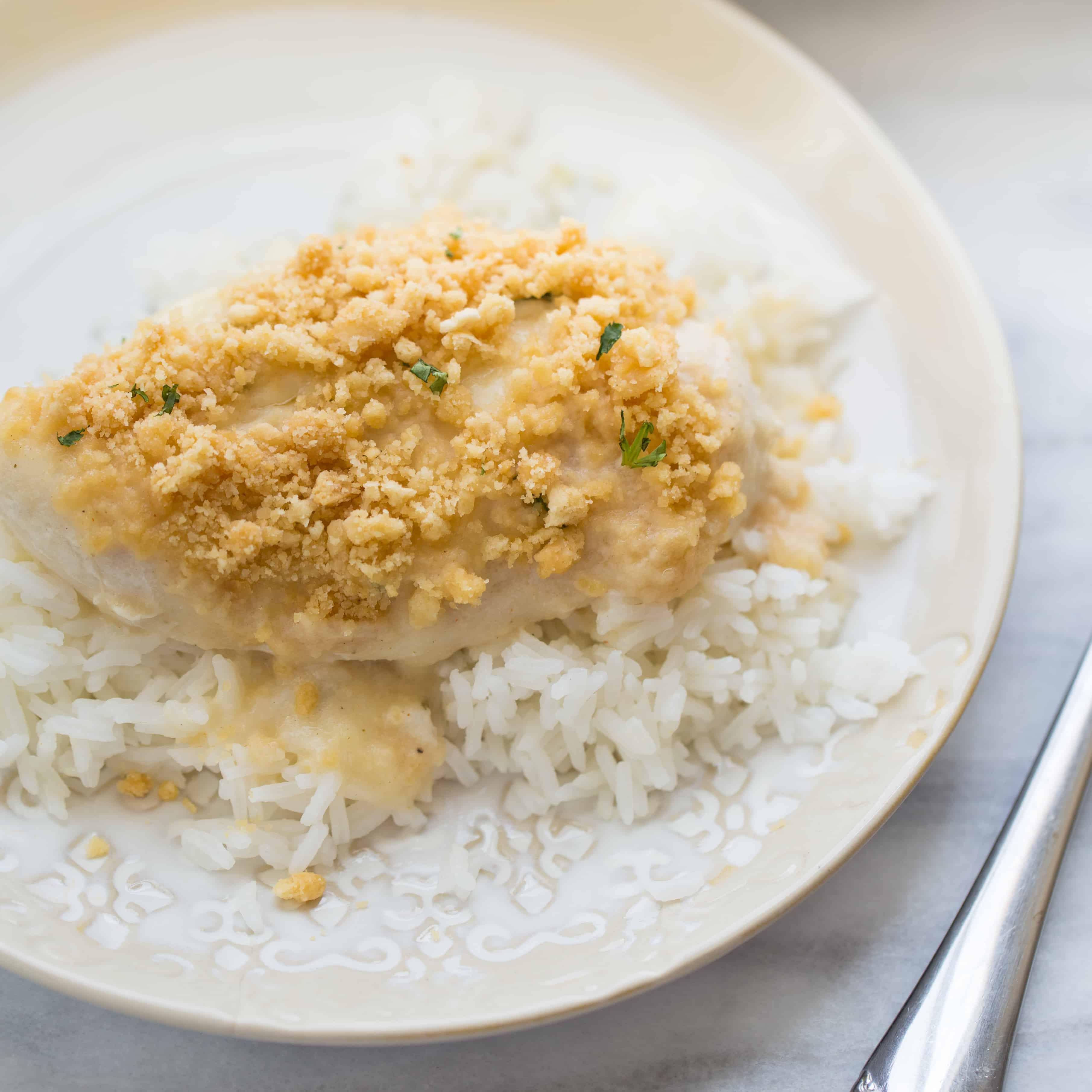 Gluten-Free Creamy Swiss Baked Chicken