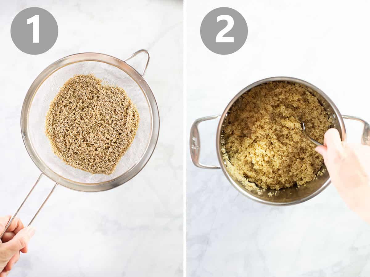 strainer with quinoa and pot of cooked quinoa