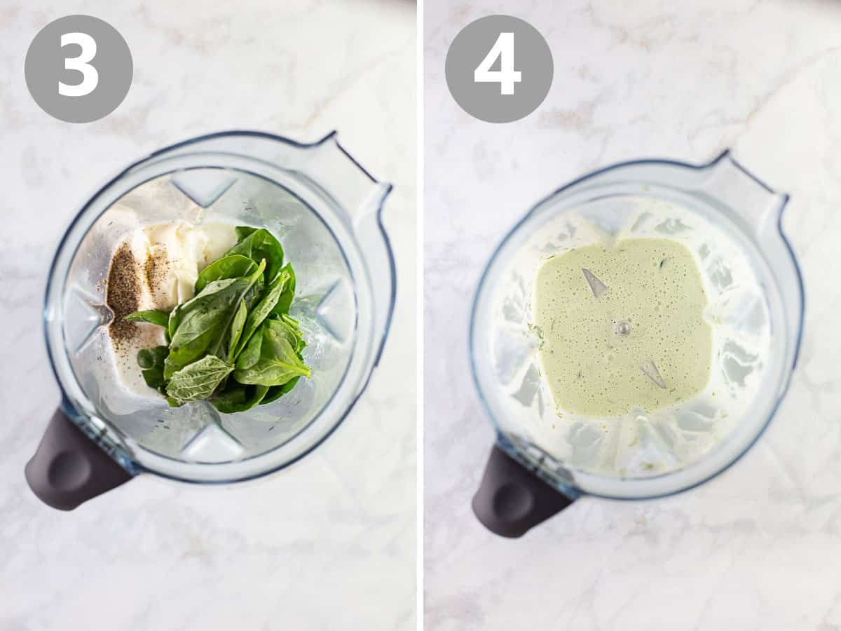 blend with ingredients for quinoa salad dressing