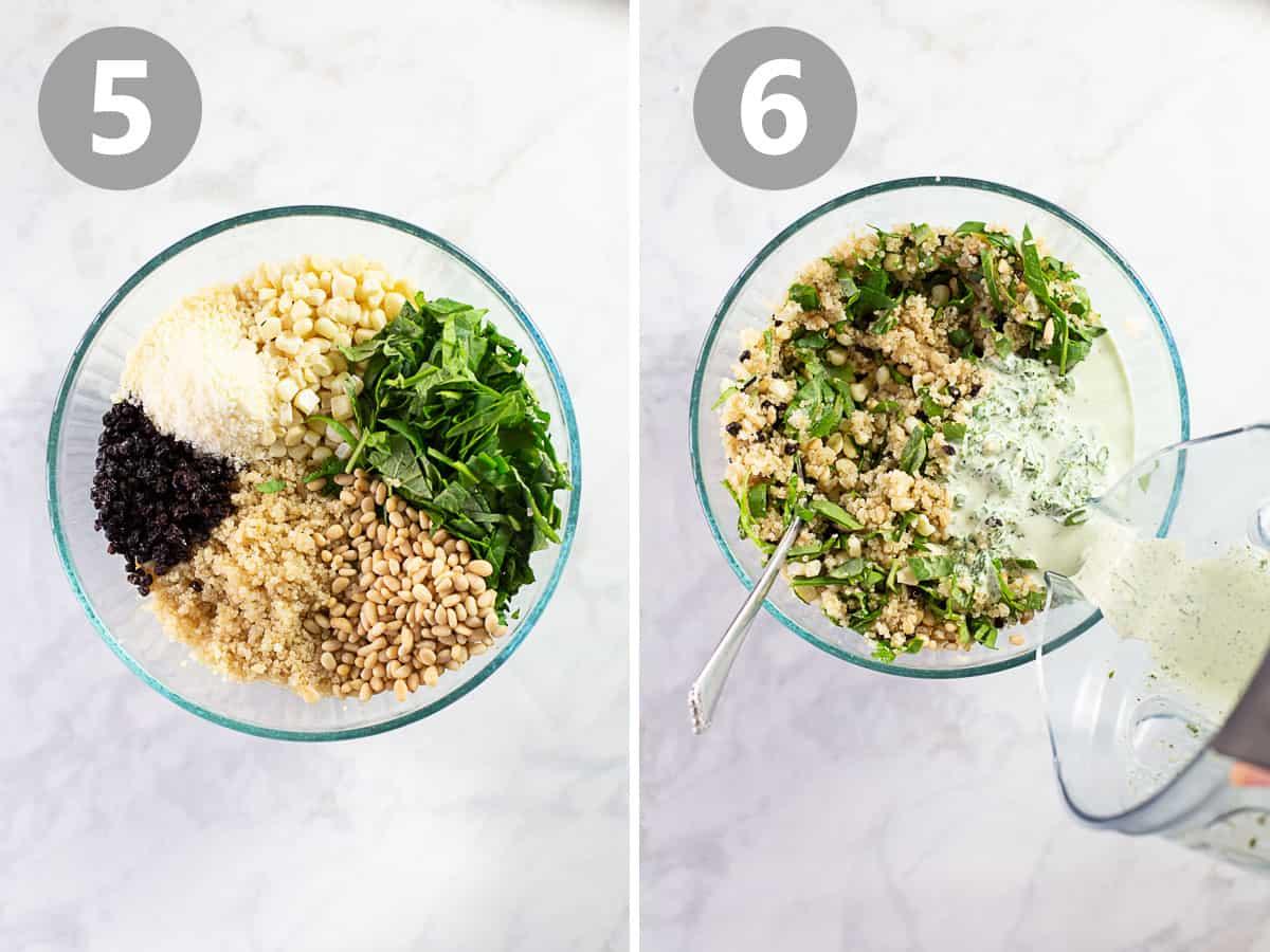 shots of mixing quinoa salad together