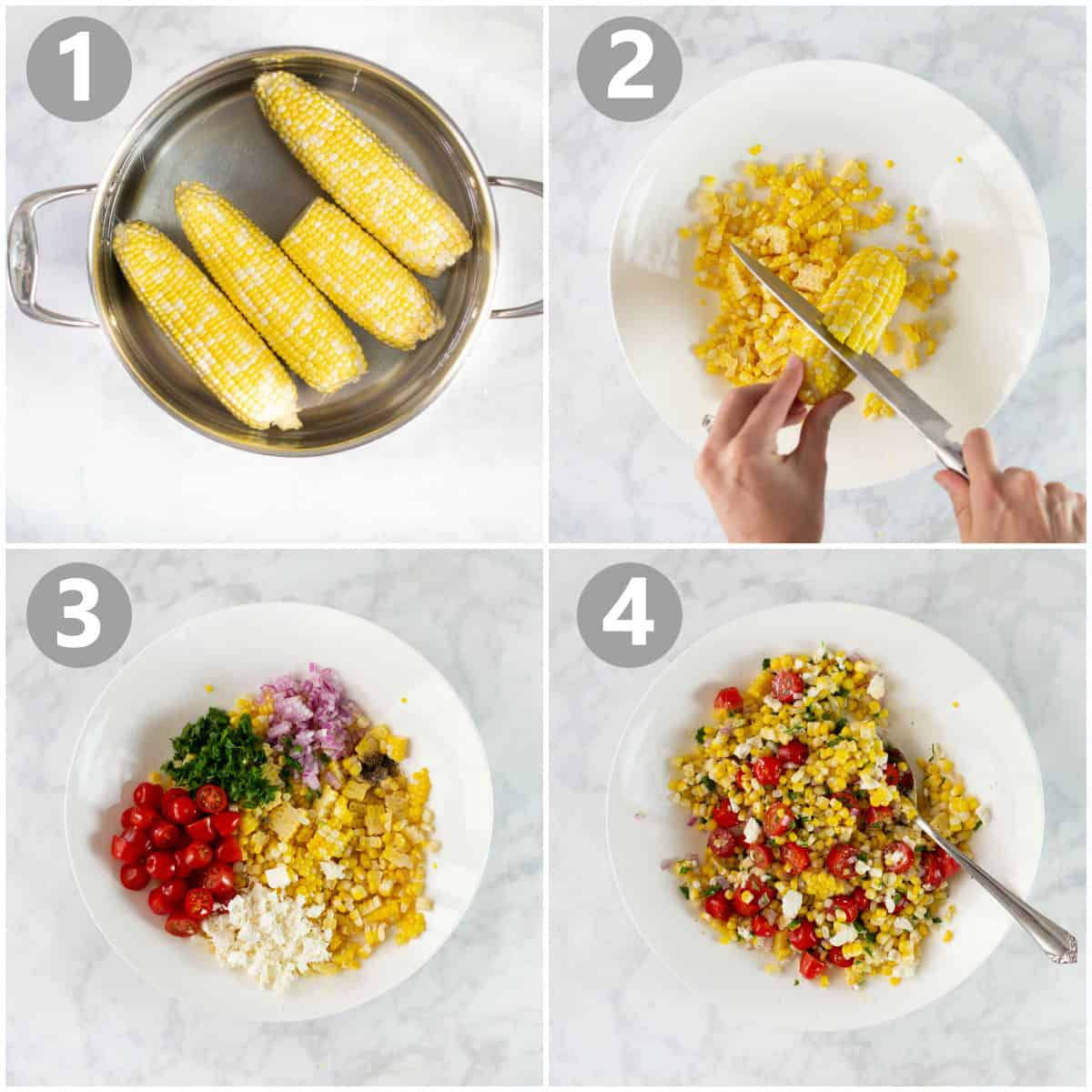 step by step photos of how to make corn salad