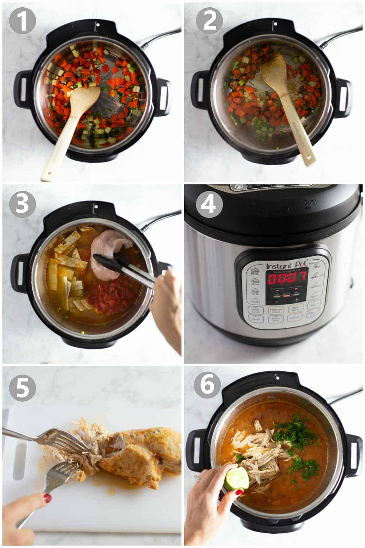 step-by-step instructions of how to make instant pot chicken tortilla soup recipe