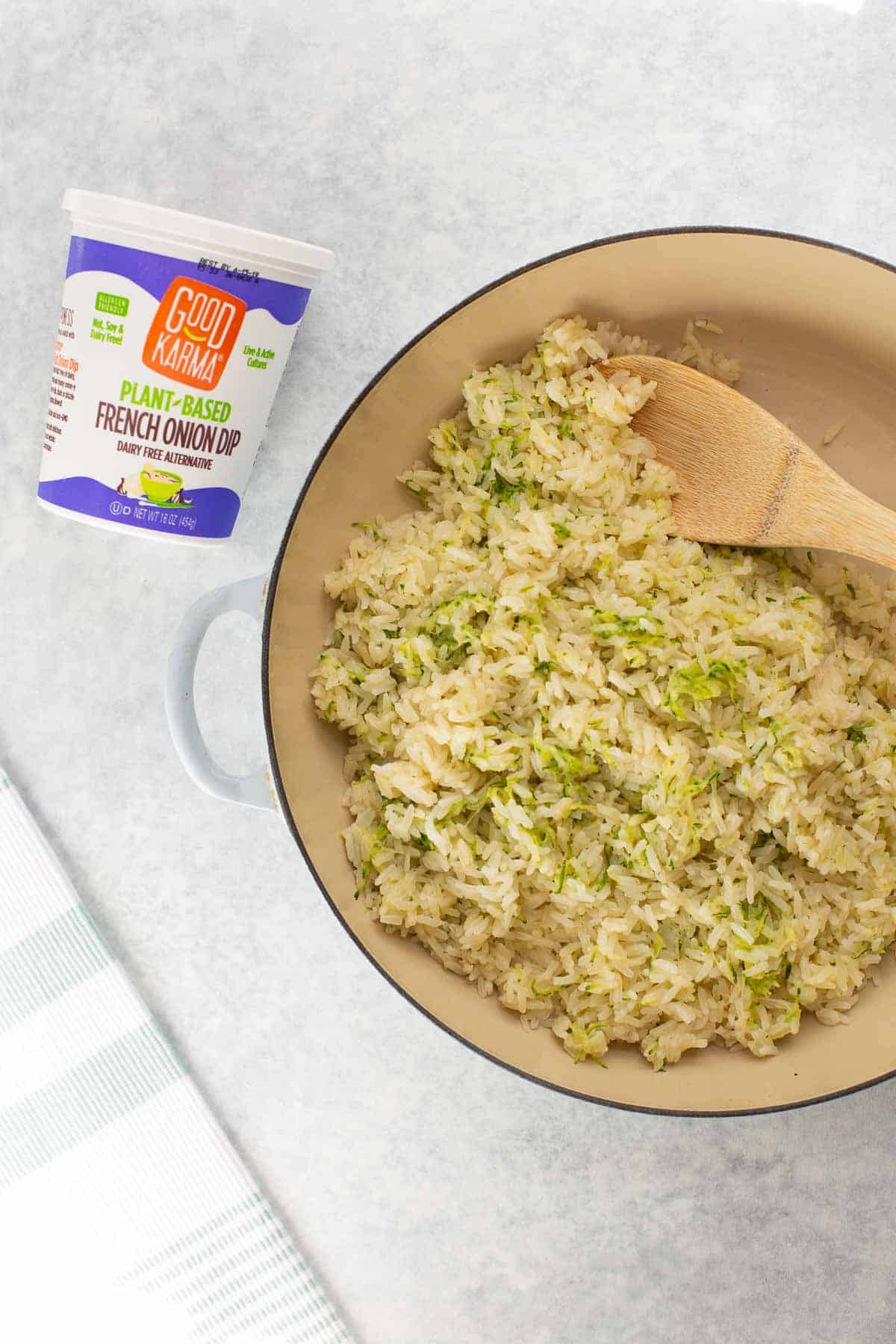 dairy-free zucchini rice with Good Karma Foods french onion dip