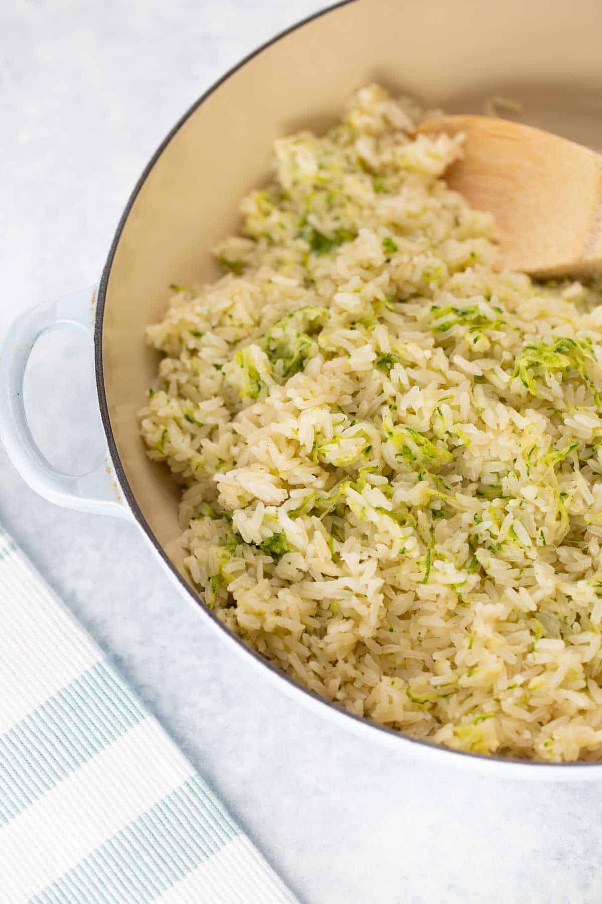 close up shot of Dairy-Free Zucchini Rice
