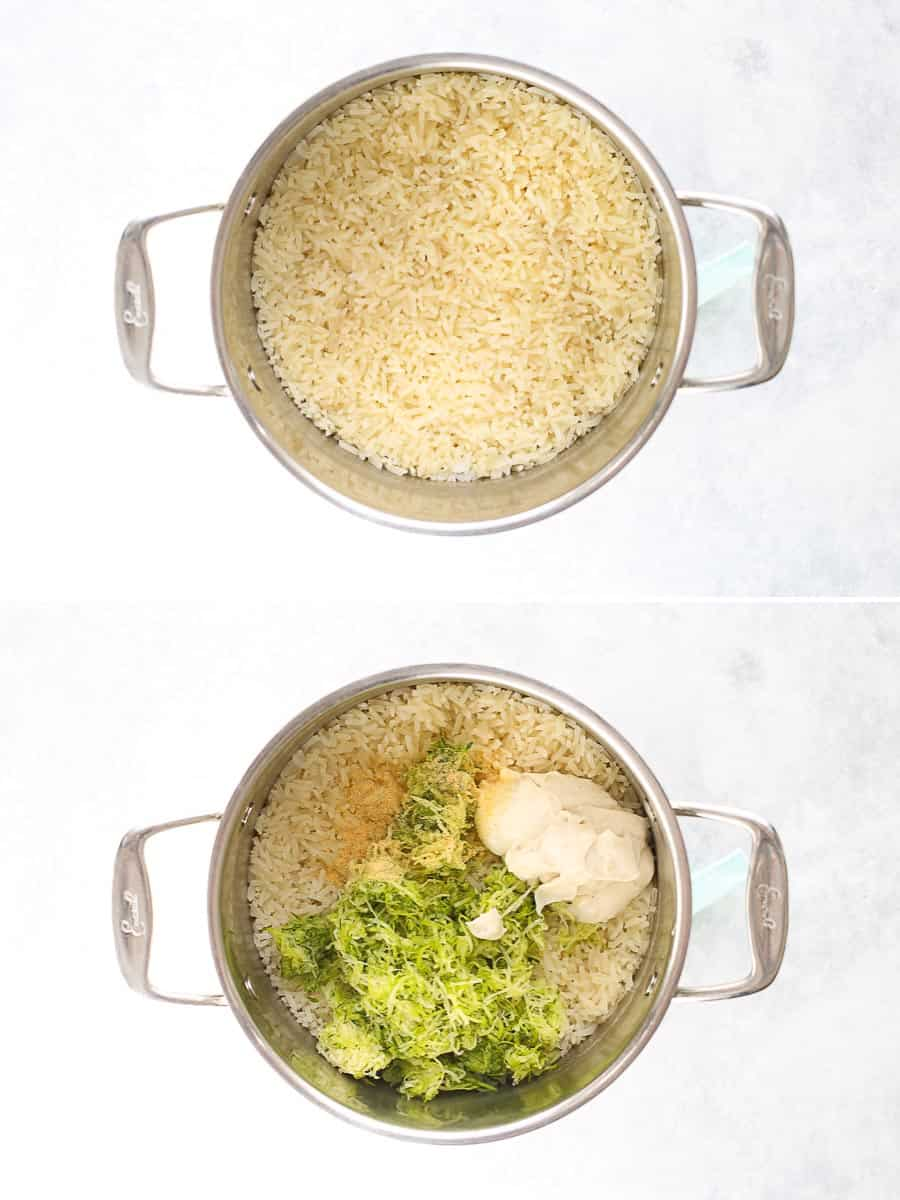 pot with zucchini being mixed into rice