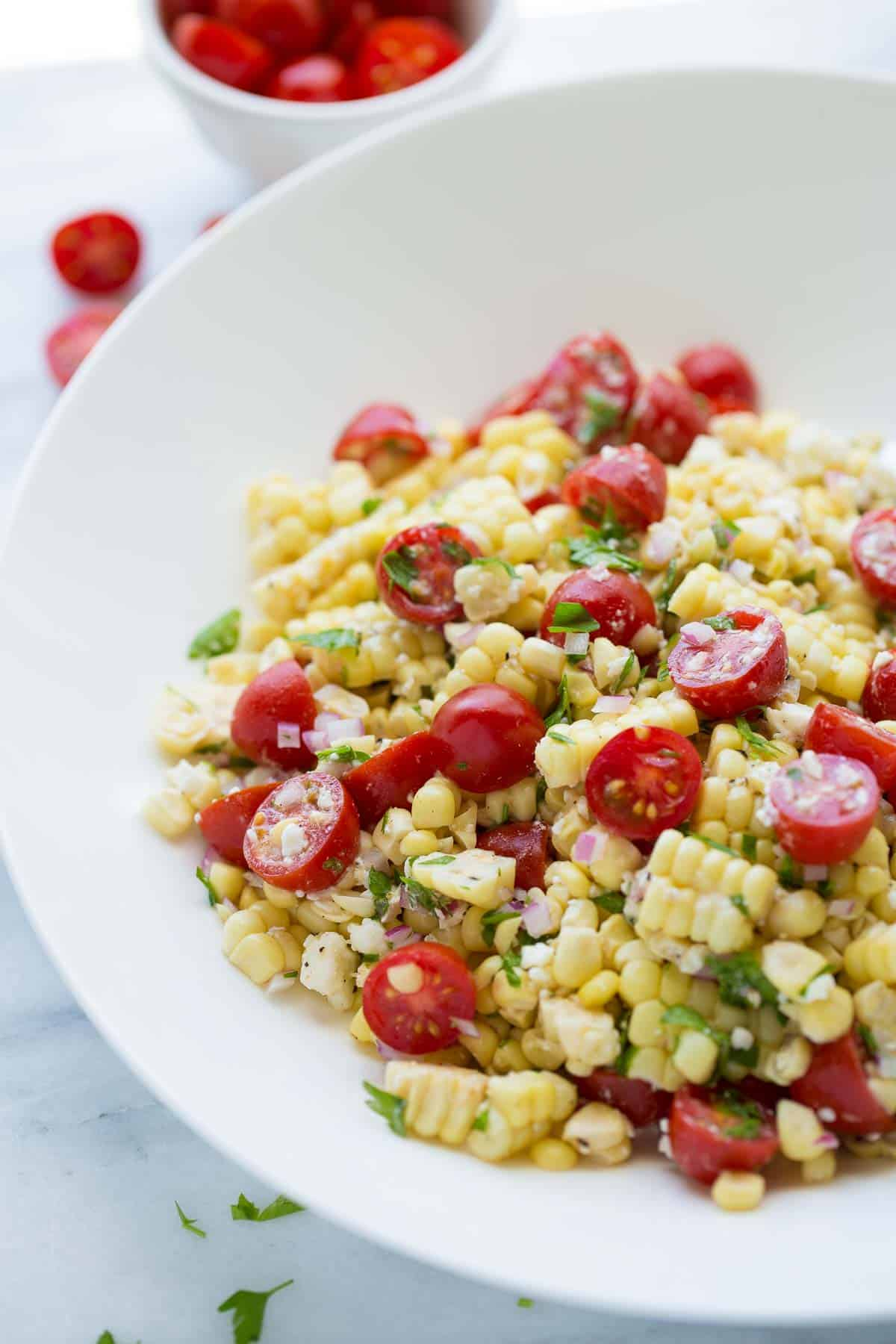 shot of summer corn salad in bowl