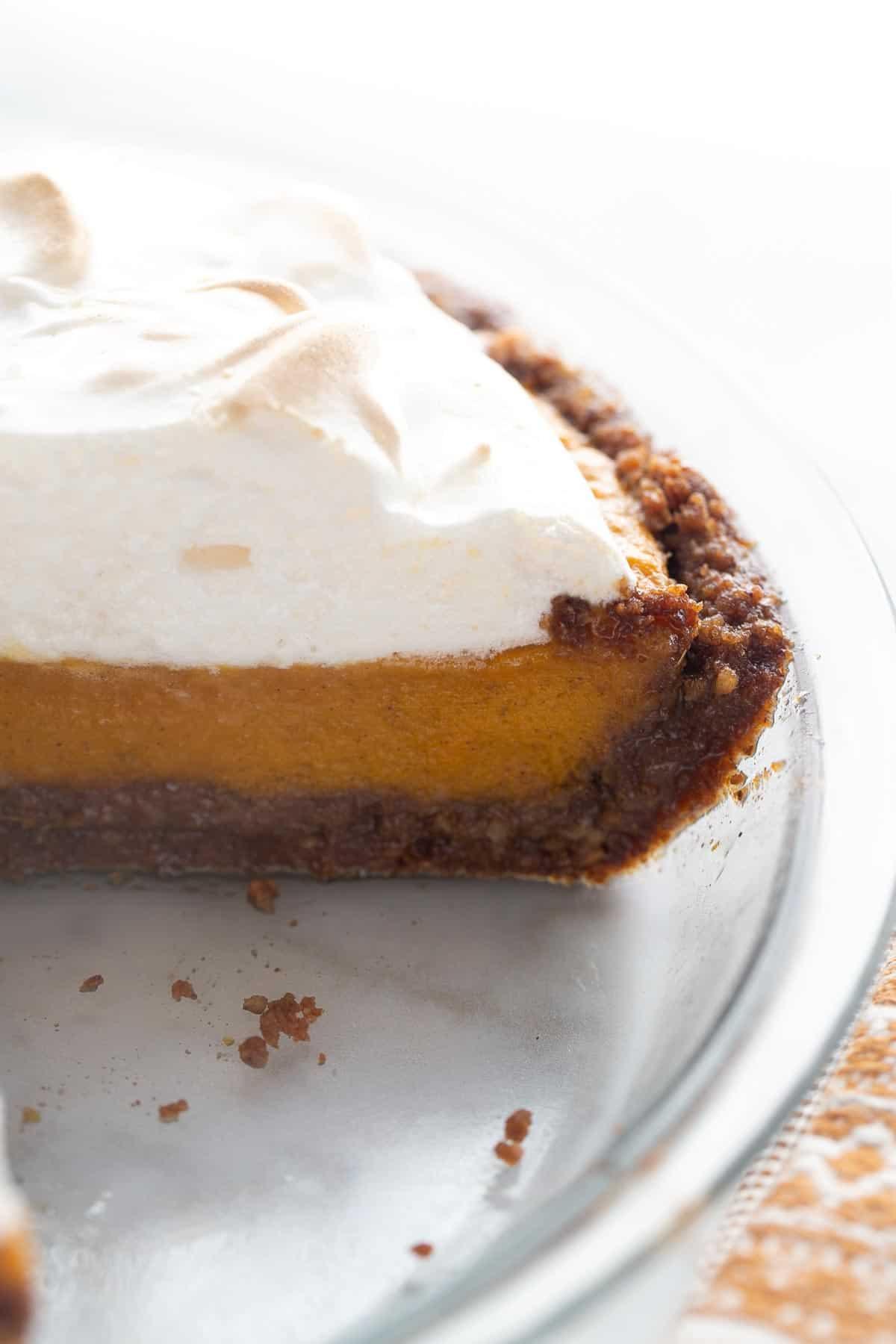 shot of sweet potato pie in glass pie plate